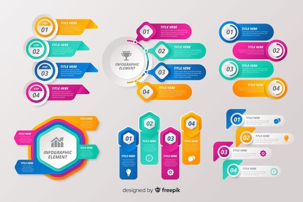 Colección de elementos para infografías vector gratuito
