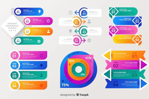 Colección de elementos infográficos coloridos vector gratuito