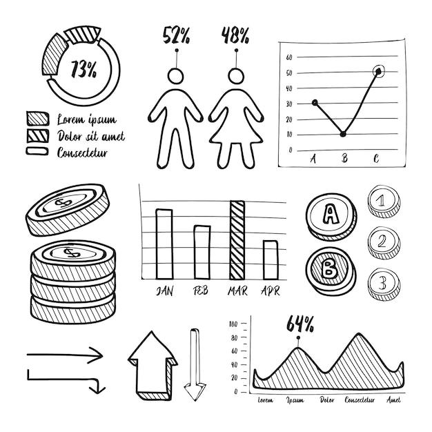 Colección de elementos infográficos dibujados a mano vector gratuito