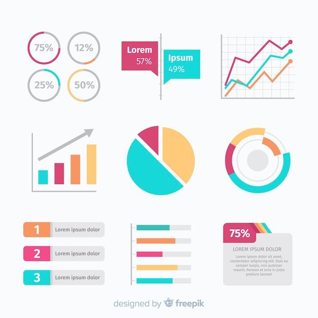 Colección de elementos infográficos flat Vector Premium