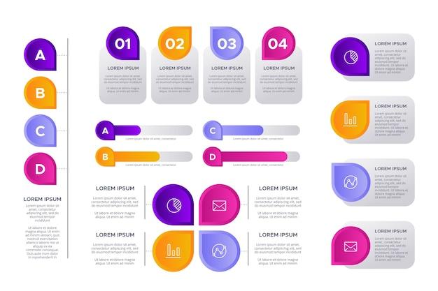 Colección de elementos infográficos vector gratuito