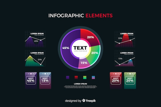 Colección de elementos de infographic con degradado vector gratuito