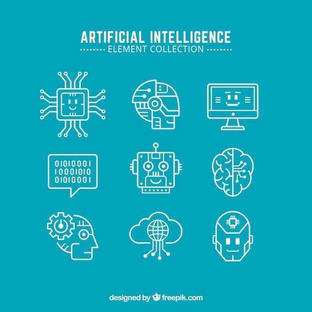 Colección de elementos de inteligencia artificial en diseño plano vector gratuito