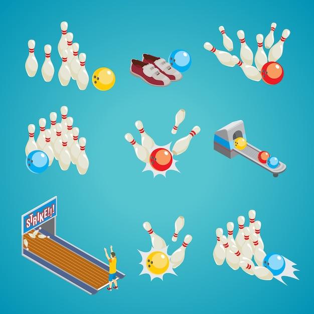Colección de elementos de juego de bolos isométricos vector gratuito