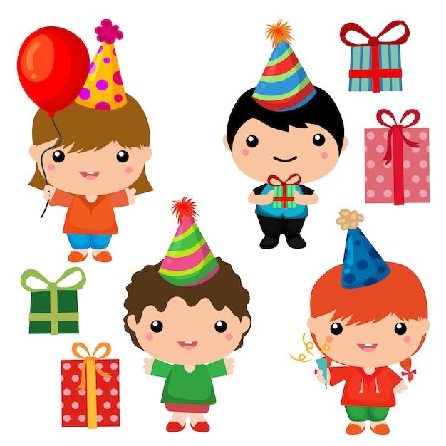 Colección de elementos lindos de cumpleaños para niños Vector Premium