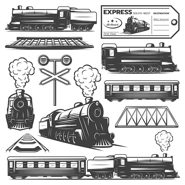 Colección de elementos de locomotora monocromática vintage vector gratuito