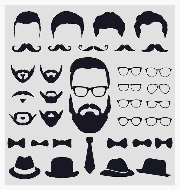 Colección de elementos de look hipster vector gratuito