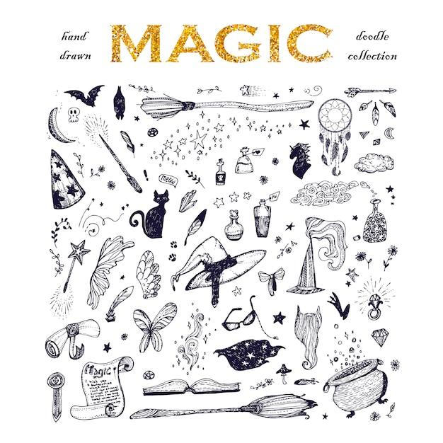 Colección de elementos de magia vector gratuito