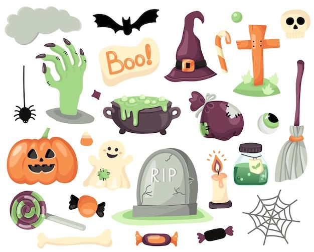 Colección de los elementos mágicos de halloween. Vector Premium