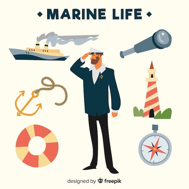 Colección elementos marinos dibujados a mano vector gratuito
