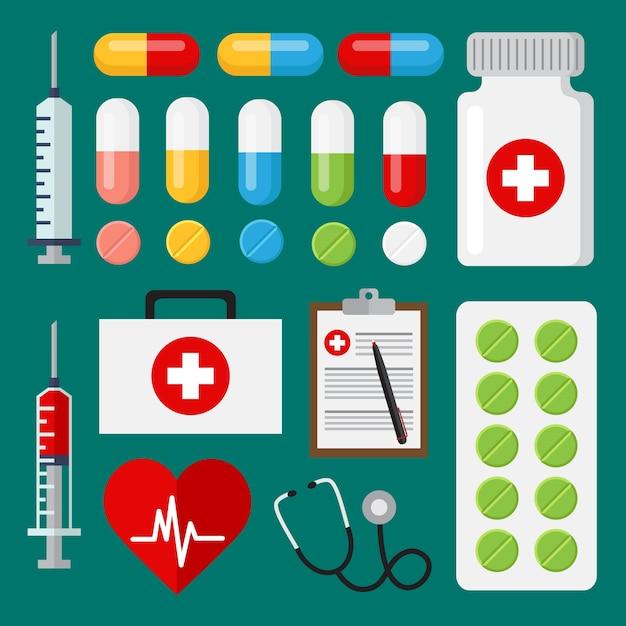 Colección de elementos médicos vector gratuito