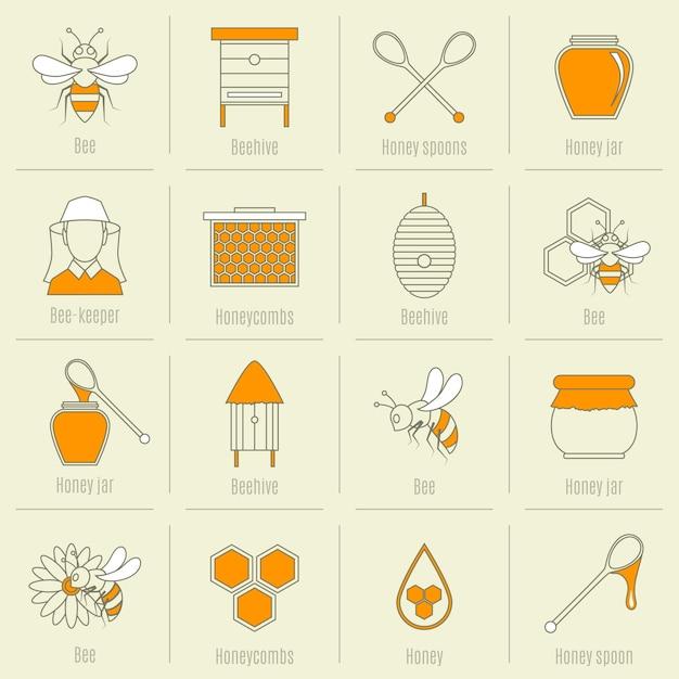 Colección de elementos de miel vector gratuito