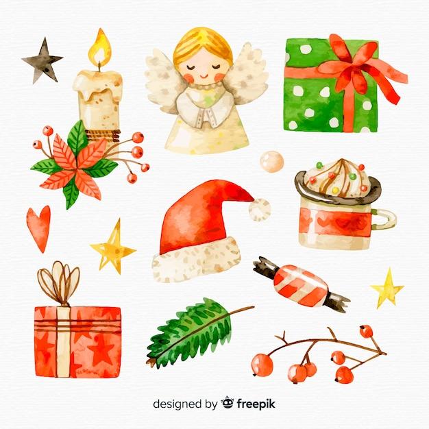 Colección de elementos de navidad de acuarela vector gratuito