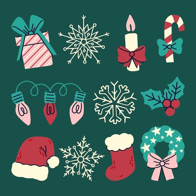 Colección de elementos navideños dibujados a mano vector gratuito