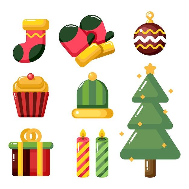 Colección de elementos navideños en diseño plano vector gratuito