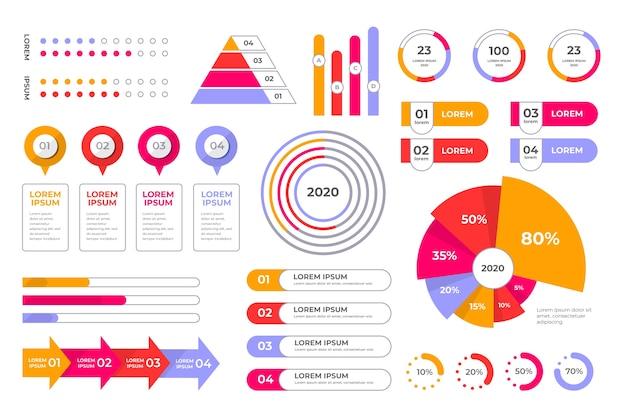 Colección de elementos de negocios de infografía vector gratuito