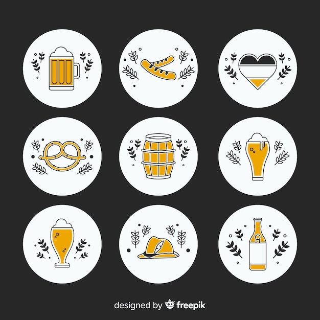 Colección de elementos de oktoberfest de diseño plano vector gratuito