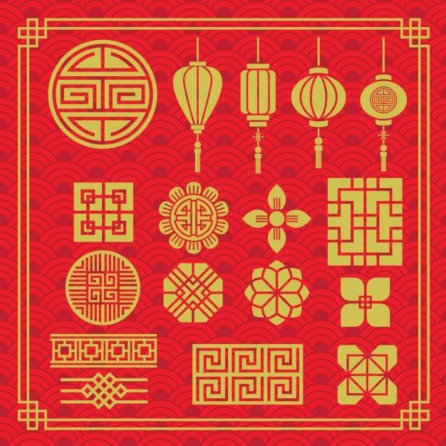 Colección de elementos orientales vector gratuito