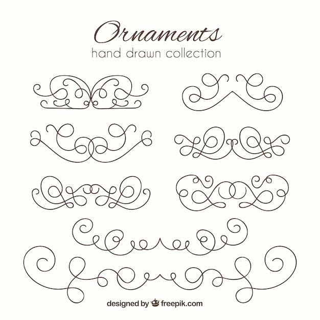 4c2fda51e3566 Colección de elementos ornamentales dibujados a mano