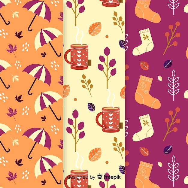 Colección de elementos otoño diseño plano vector gratuito