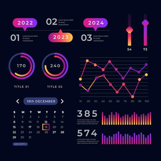 Colección de elementos del panel de gráficos estadísticos vector gratuito