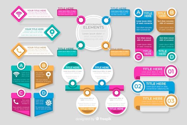 Colección de elementos planos coloridos infografía vector gratuito