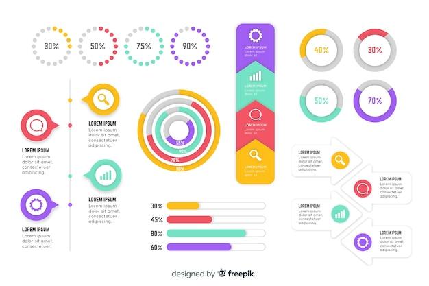 Colección de elementos planos infográficos vector gratuito