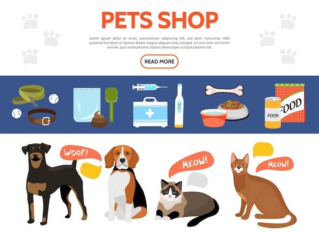 Colección de elementos planos de la tienda de mascotas con perros lindos gatos collar de comida para animales correa equipo médico vector gratuito