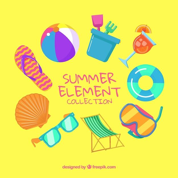 489dcbb8c Colección de elementos de playa con ropa y comida | Descargar ...