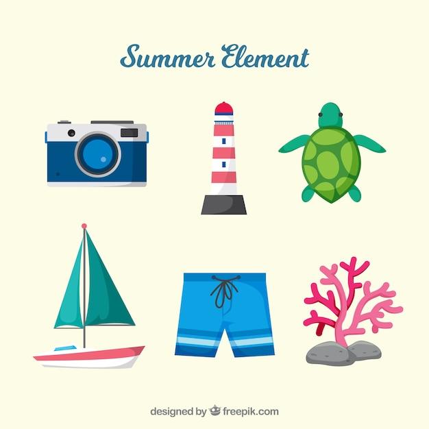 Colección de elementos de playa con ropa en estilo plano Vector Premium