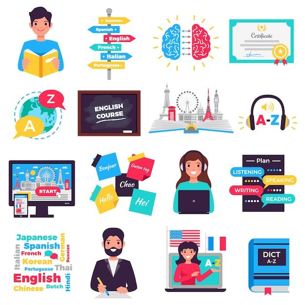 Colección de elementos del programa de aprendizaje de idiomas extranjeros vector gratuito