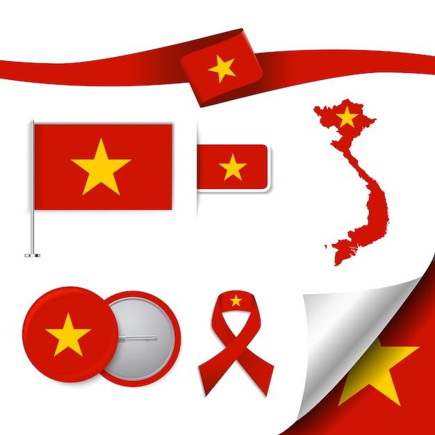 Colección de elementos representativos de vietnam vector gratuito