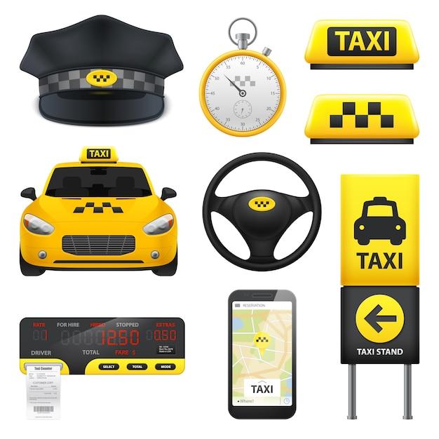 Colección de elementos de señal de taxi vector gratuito