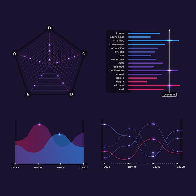 Colección de elementos del tablero de infografía vector gratuito