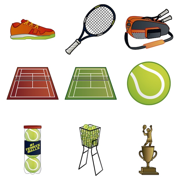 Colección de elementos de tenis vector gratuito
