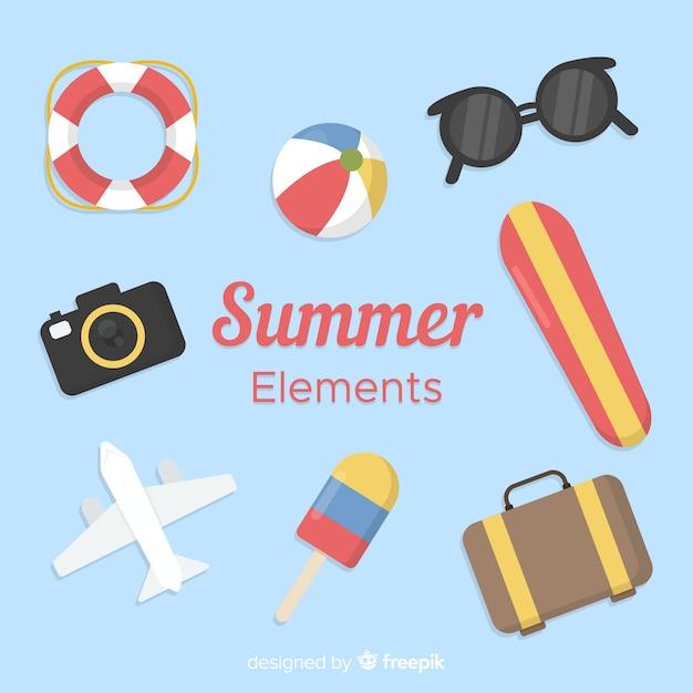 Colección de elementos de verano en estilo flat vector gratuito