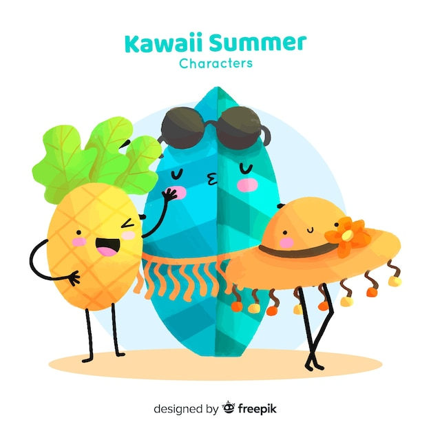 Colección elementos de verano kawaii coloridos vector gratuito