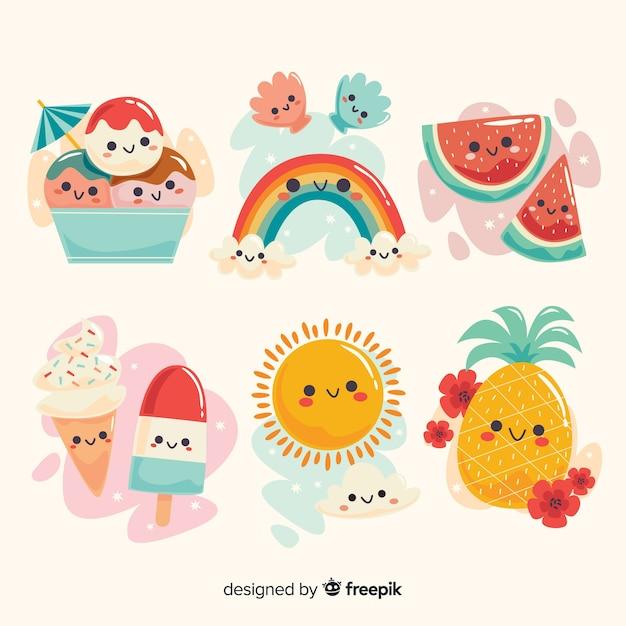 Colección elementos de verano kawaii vector gratuito