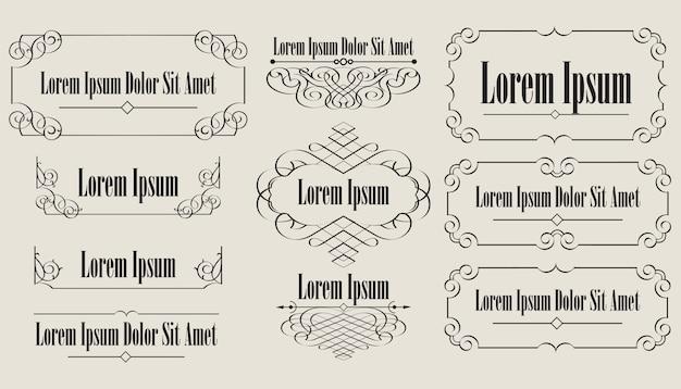 Colección de elementos vintage caligráficos. Vector Premium