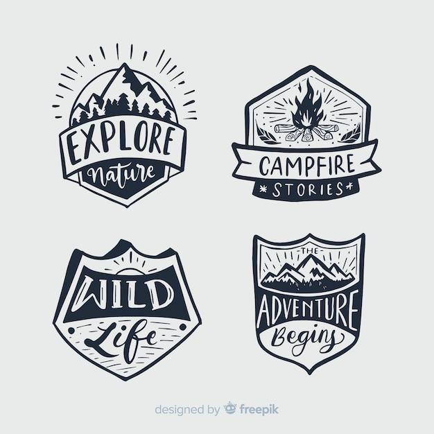 Colección de emblemas caligráficos de viaje vector gratuito