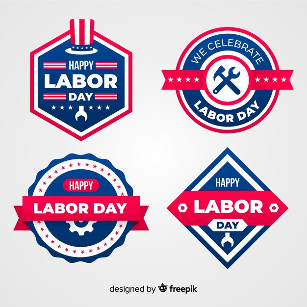 Colección de emblemas del día del trabajador en diseño plano vector gratuito