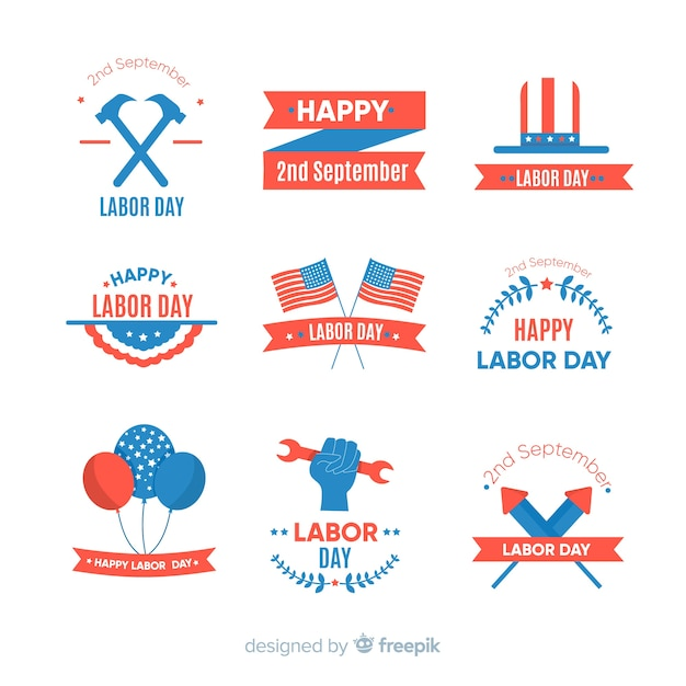 Colección de emblemas del día del trabajo en diseño plano vector gratuito