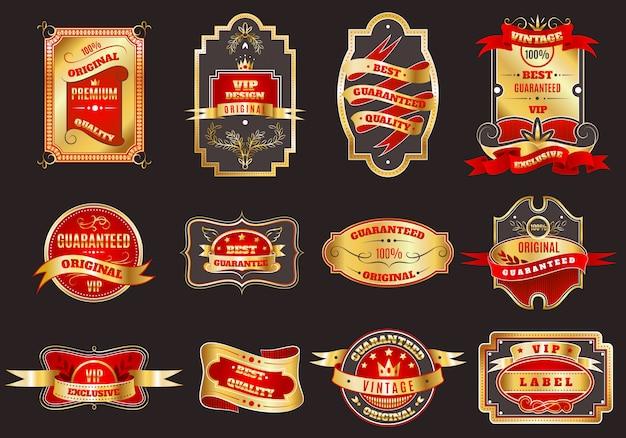 Colección de emblemas etiquetas doradas retro vector gratuito