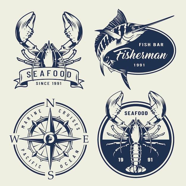 Colección de emblemas de mar vintage vector gratuito