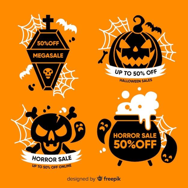 Colección de emblemas de rebajas de halloween en diseño plano vector gratuito