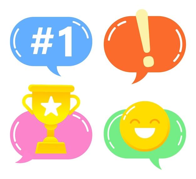 Colección de emojis y emoticonos utilizados en conversaciones de adolescentes. Vector Premium