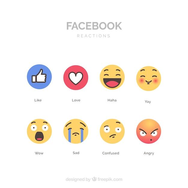 Colección de emojis de facebook con diseño plano vector gratuito