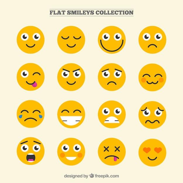 Colección de emoticonos divertidos en diseño plano vector gratuito