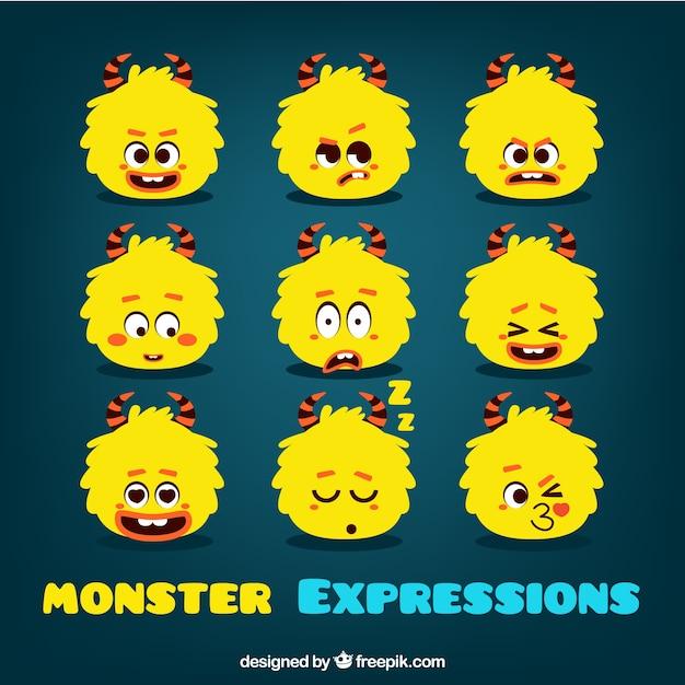 Colección de emoticonos de monstruo Vector Premium
