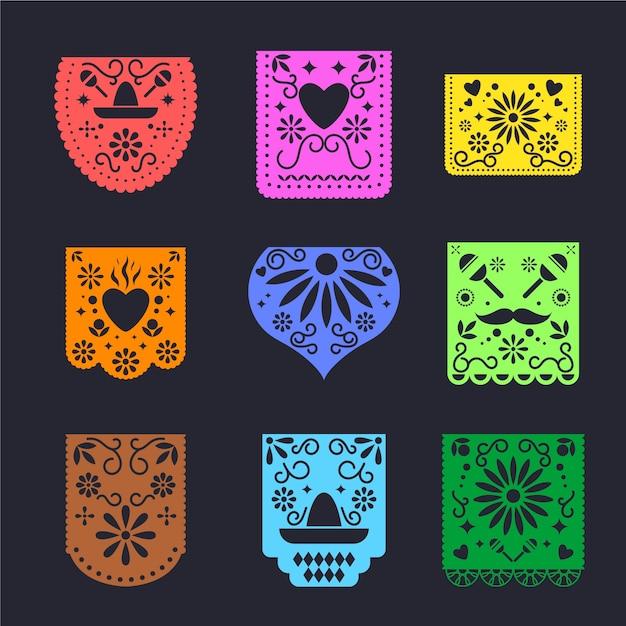 Colección de empavesado de estilo mexicano vector gratuito